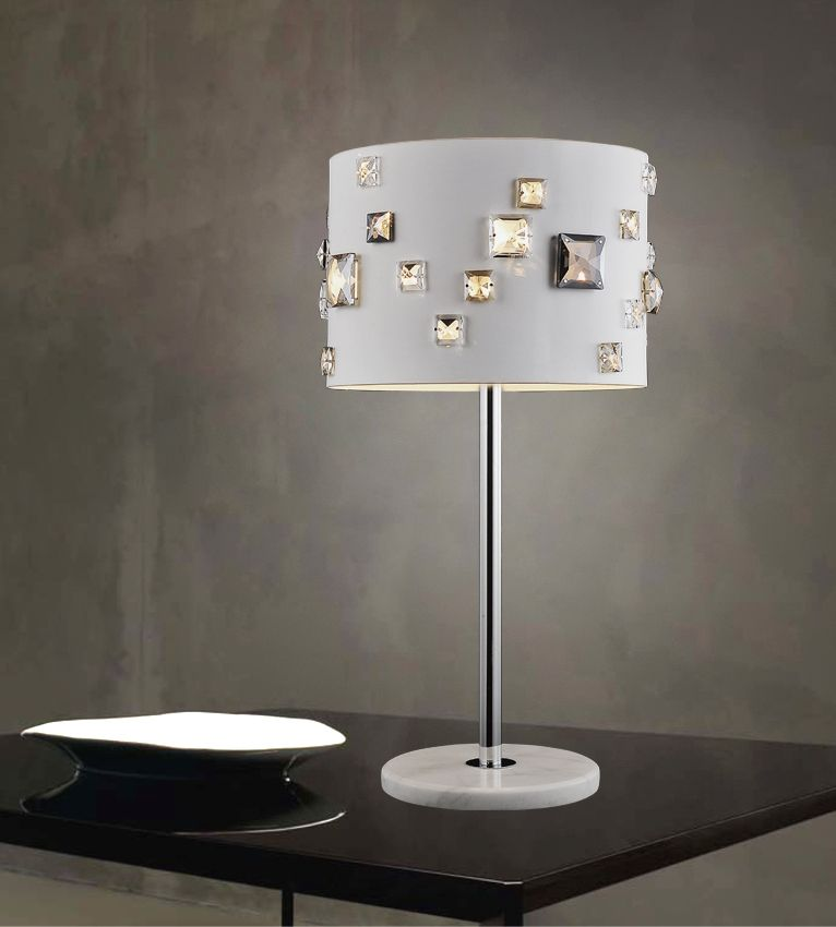 4 Light Table Lamp With White Finish
