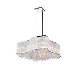 12-Light 40W Chrome Chandelier with Clear Crystals