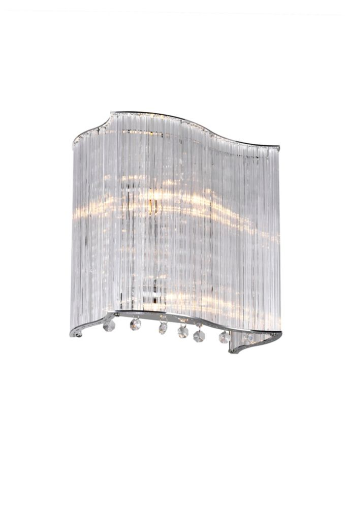 2 Light Wall Sconce With Clear Crystals