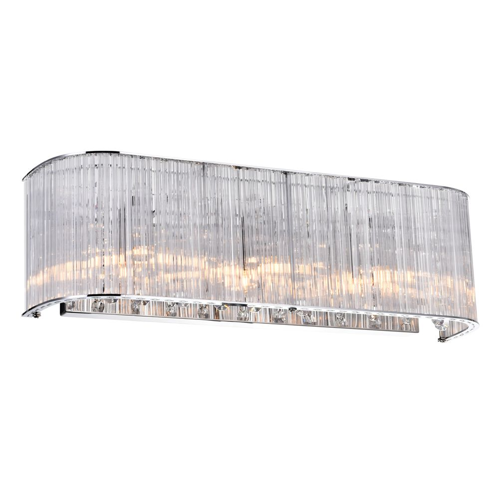 3 Light Wall Sconce With Clear Crystals