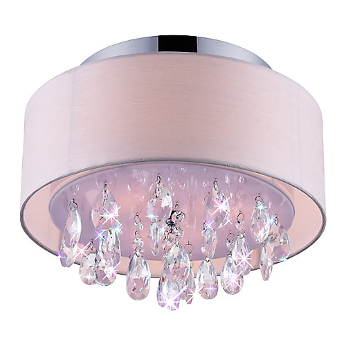 3-Light Flushmount with Off-White Shade