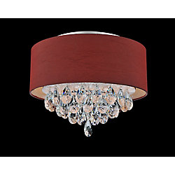 3 Light Flush Mount With Wine Red Shade