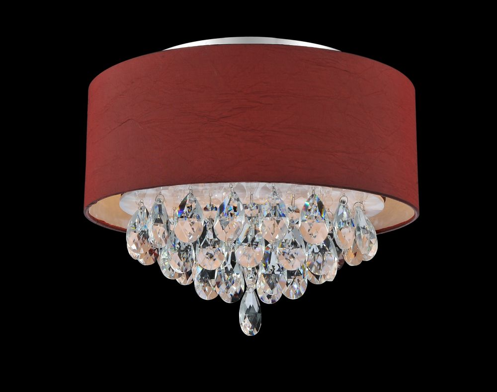 CWI Lighting 3 Light Flush Mount With Wine Red Shade
