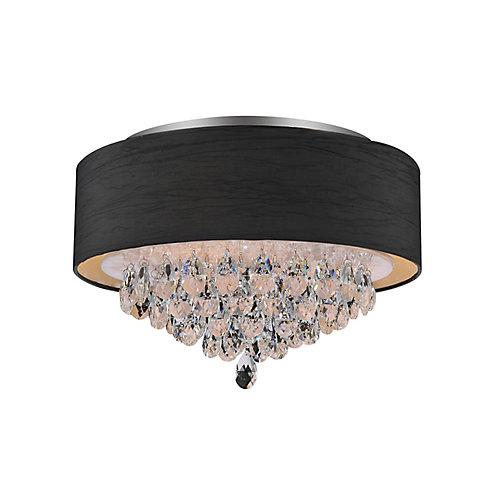4 Light Flush Mount With Black Shade