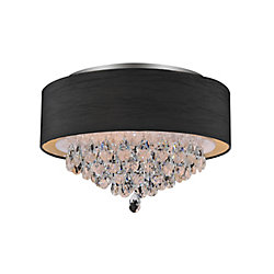 4 Light Flush Mount With Black Shade