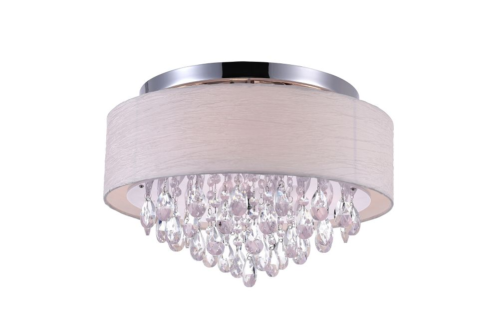 4 Light Flush Mount With Off White Shade