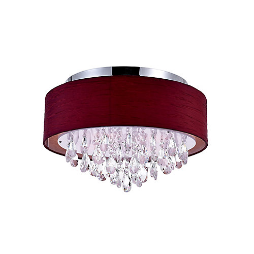 4 Light Flush Mount With Wine Red Shade