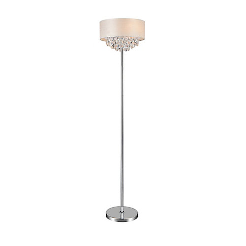 4 Light Floor Lamp With Off White Shade