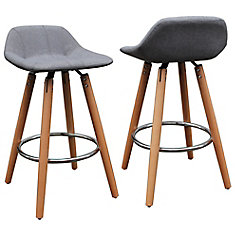 camaro 32inch bar stool with beech wood legs and grey upholstered seat and back - 36 Inch Bar Stools