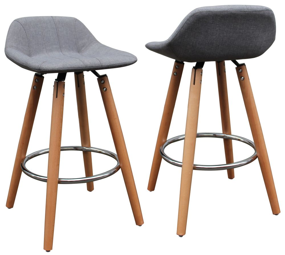 !nspire Camaro Solid Wood and Chrome Backless Armless Bar Stool with Grey Fabric Seat - (Set of 2)