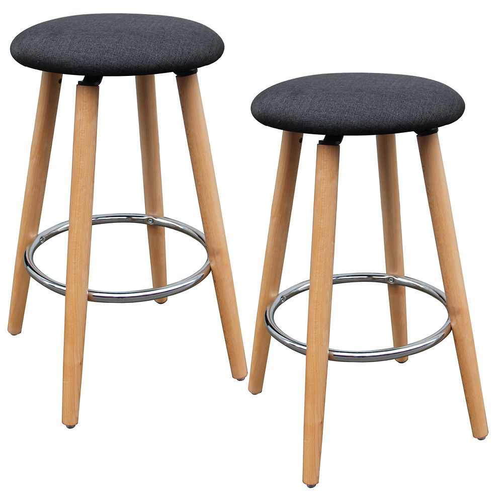Etta Set Of 2- 26 Inch  Counter Stool -Charcoal