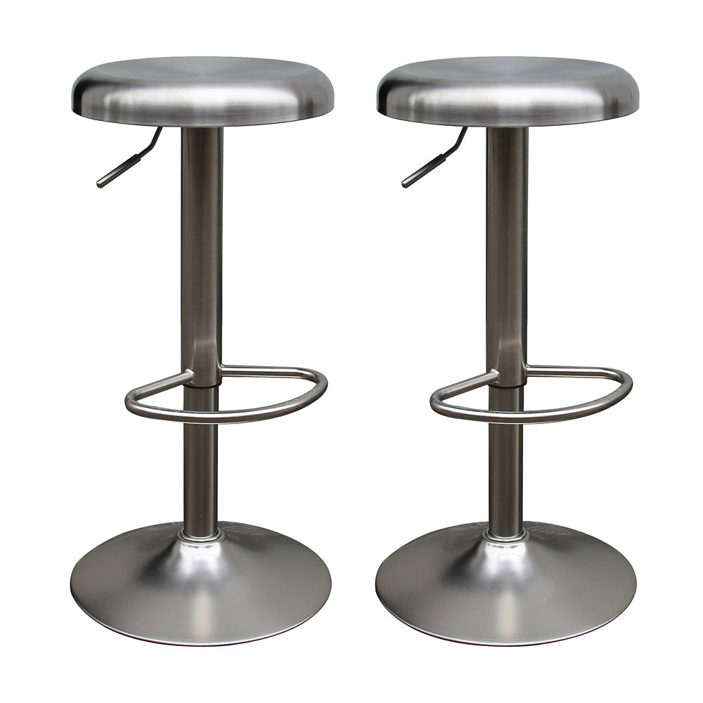 Saxo Set Of 2 Adjustable Stool-Stainless Steel