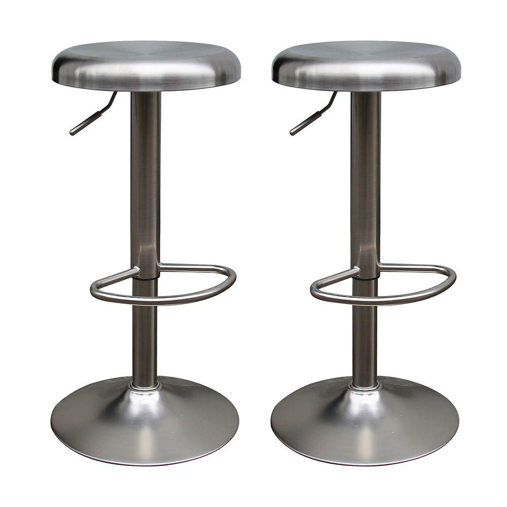 Saxo Set Of 2 Adjustable Stool-Stainless Steel