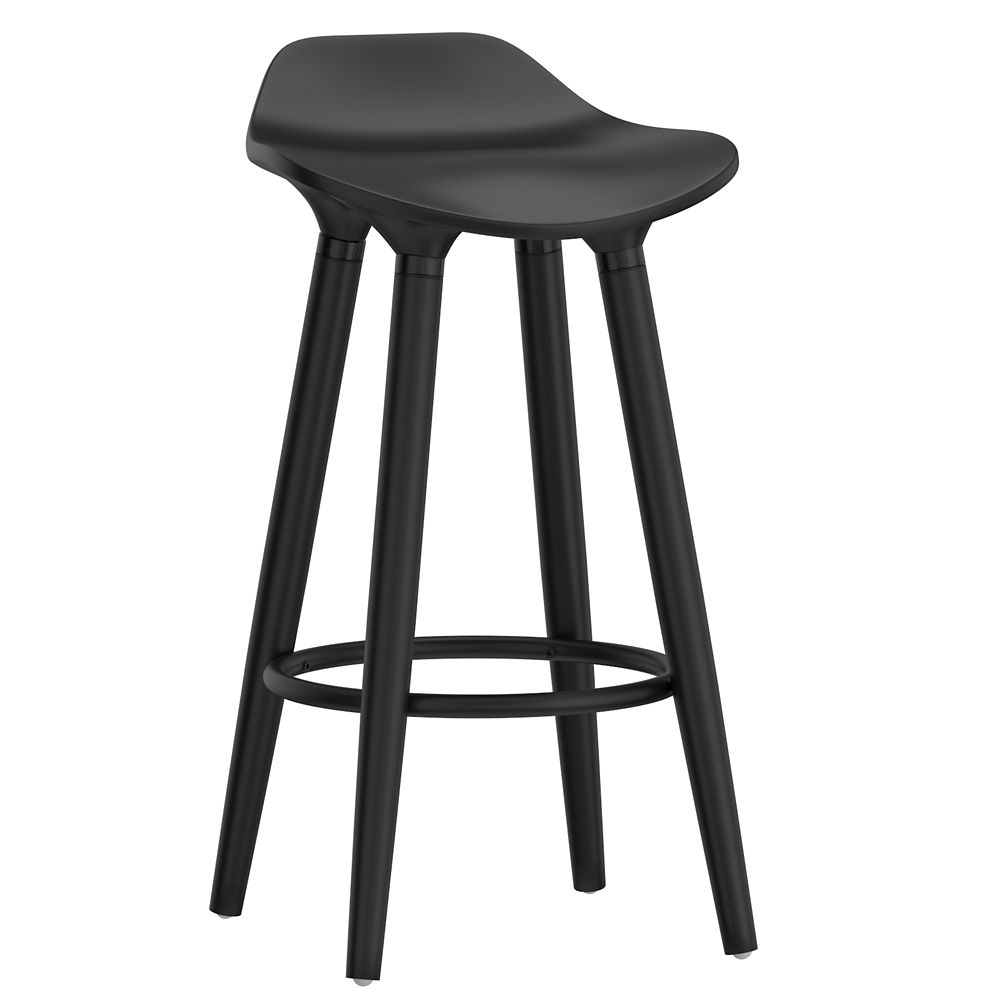 !nspire Trex Metal Chrome Contemporary Low Back Armless Bar Stool with White Solid Wood Seat - Set of 2