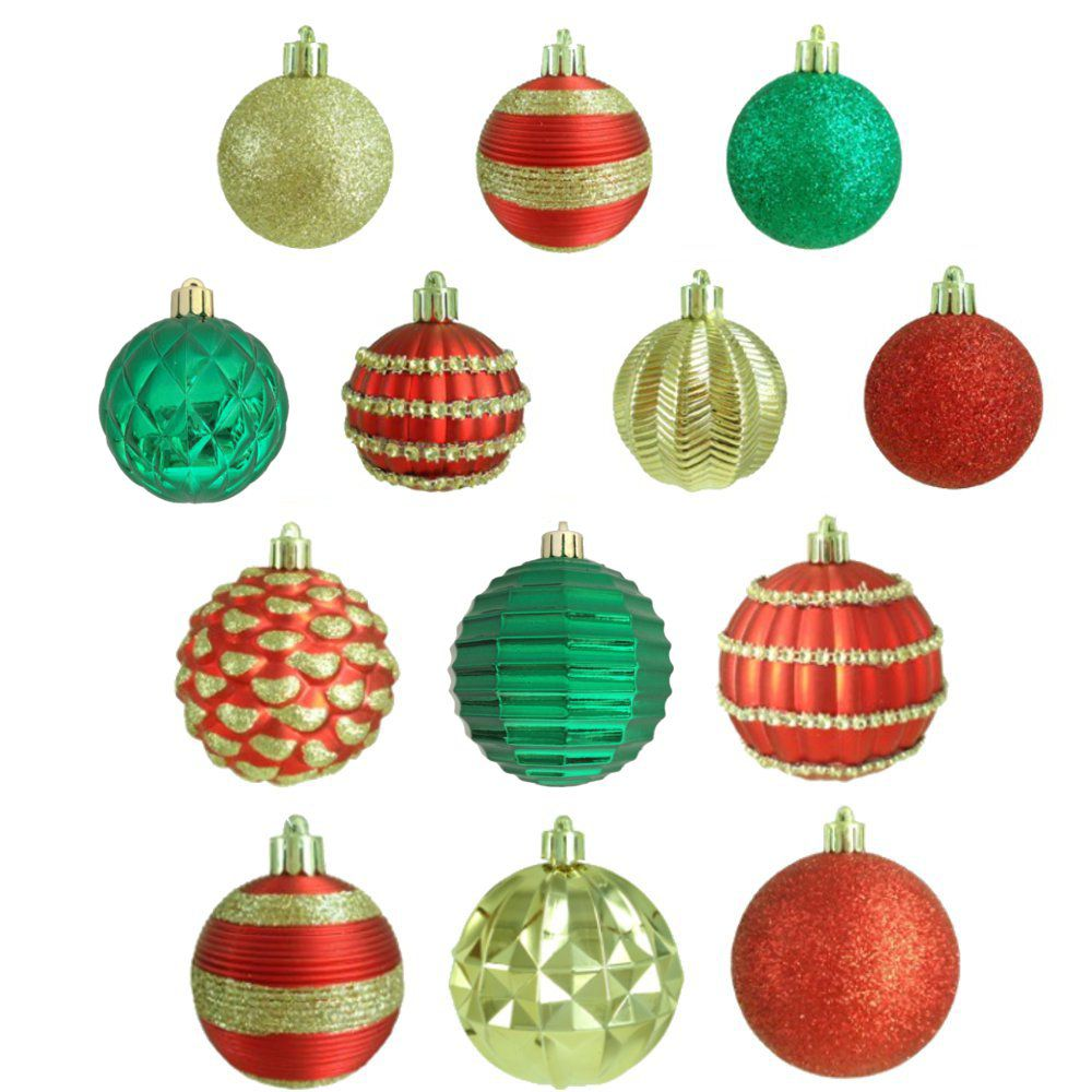 100ct Ornament Set 60mm & 80mm Red/Green/Gold