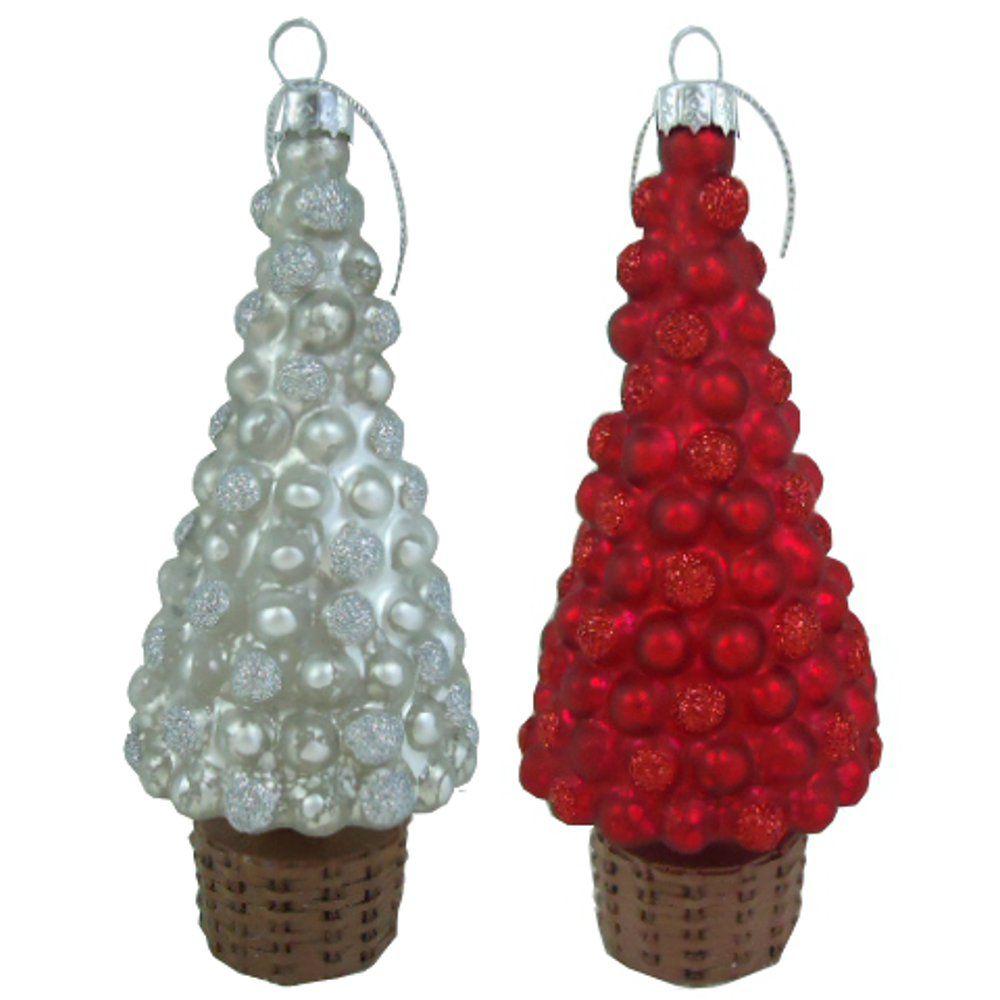 WT Christmas Tree Topiary Ornaments 4pk