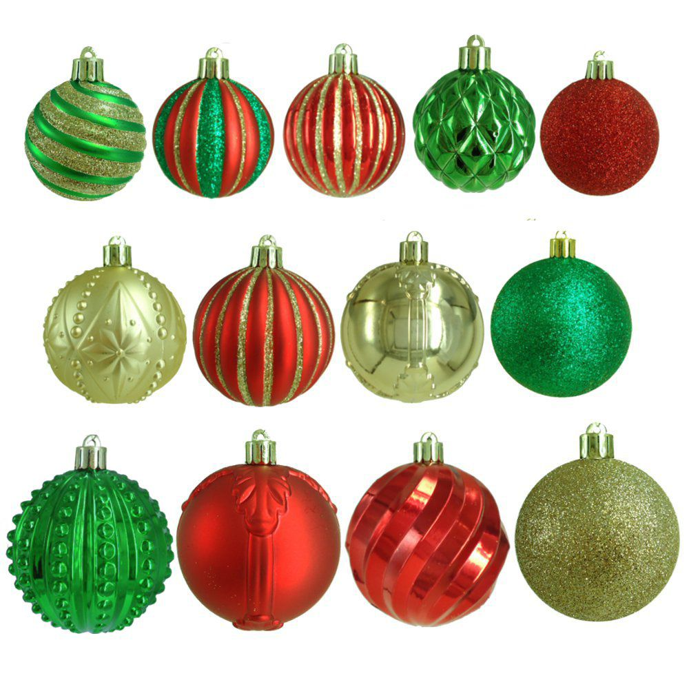 100ct Assorted Ornaments (R/G/G)
