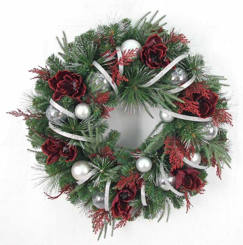 32 inch Red/Silver Magnolia Wreath