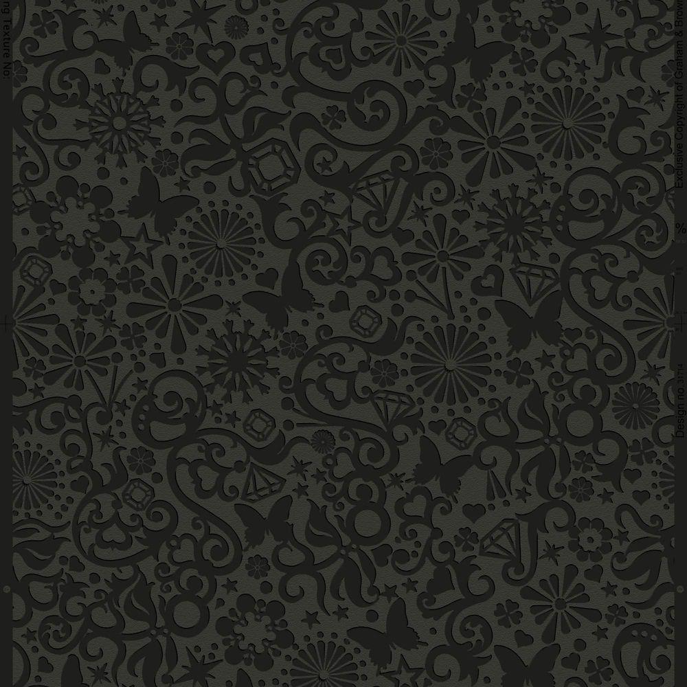 Petit Pappilon Illusions Papier Peint Noir