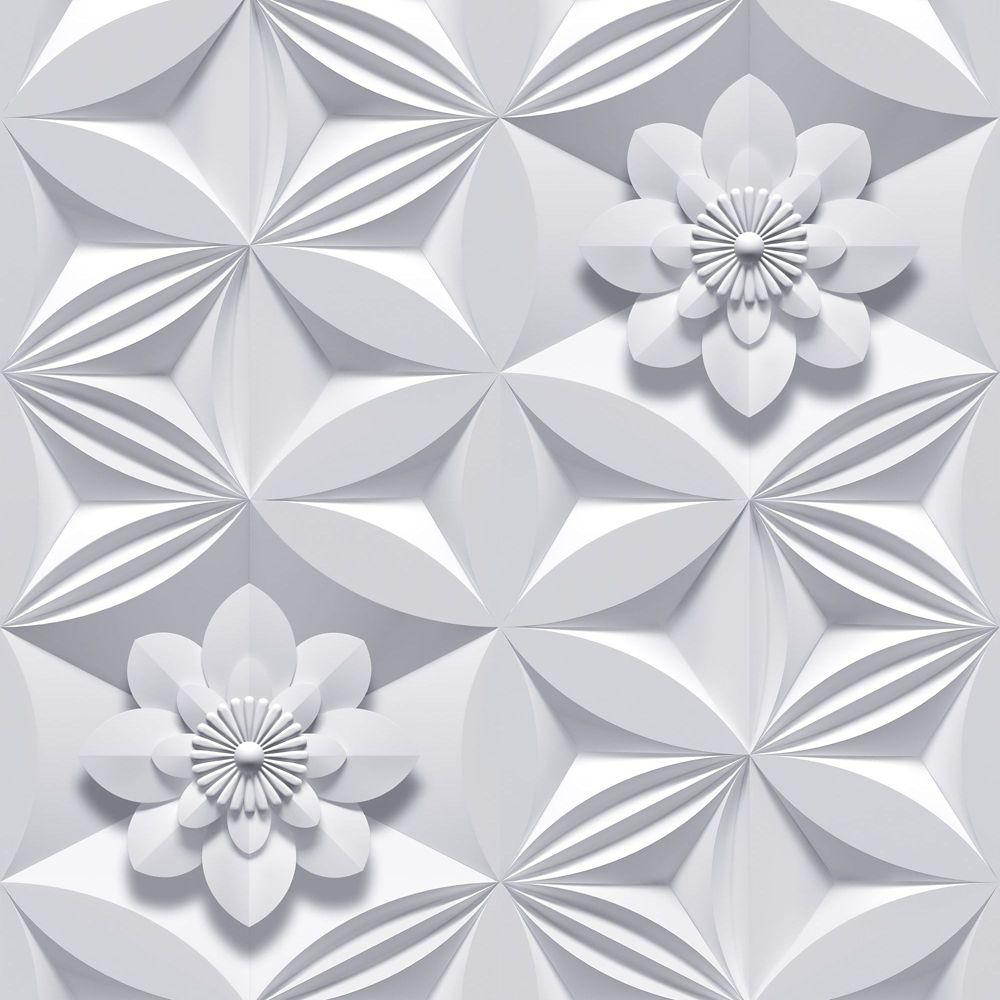 Giroflée Illusions Papier Peint Gris
