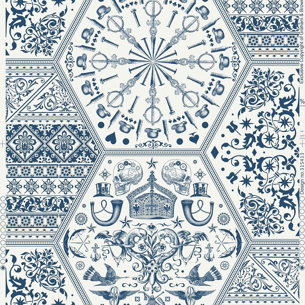World Heritage Blue/White Wallpaper