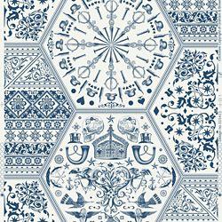 Graham & Brown Patrimoine Mondial Papier Peint Bleu/Blanc
