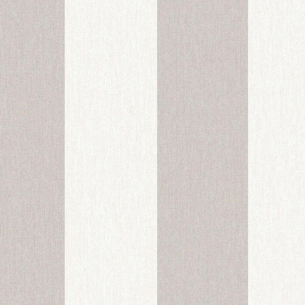 Calico Stripe Greige/Cream Wallpaper