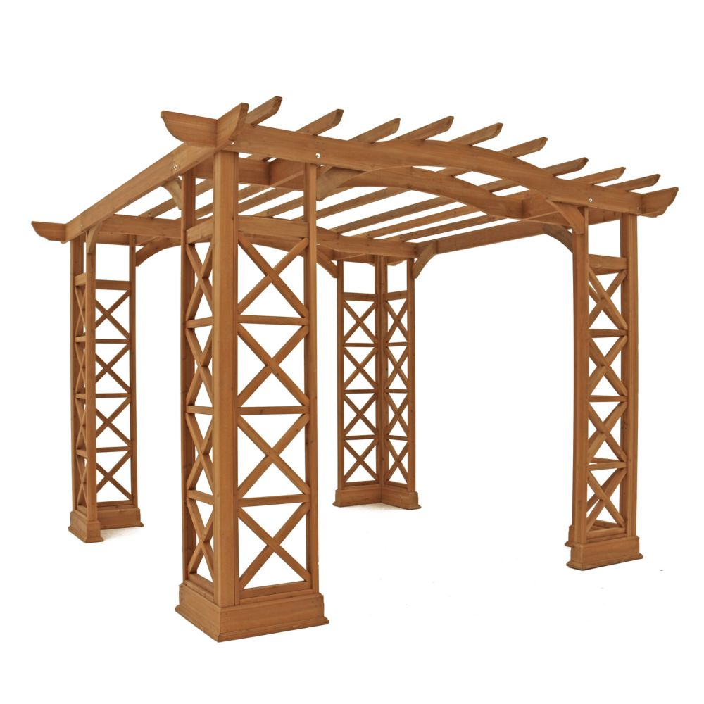 12 Feet X 12 Feet Arched Roof Pergola - Brown
