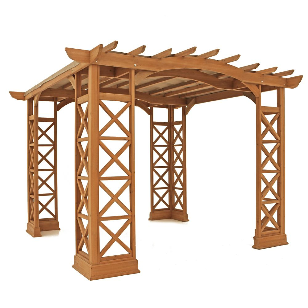 12 Feet X 12 Feet Arched Roof Pergola - Brown With Snap-On Sun Shade