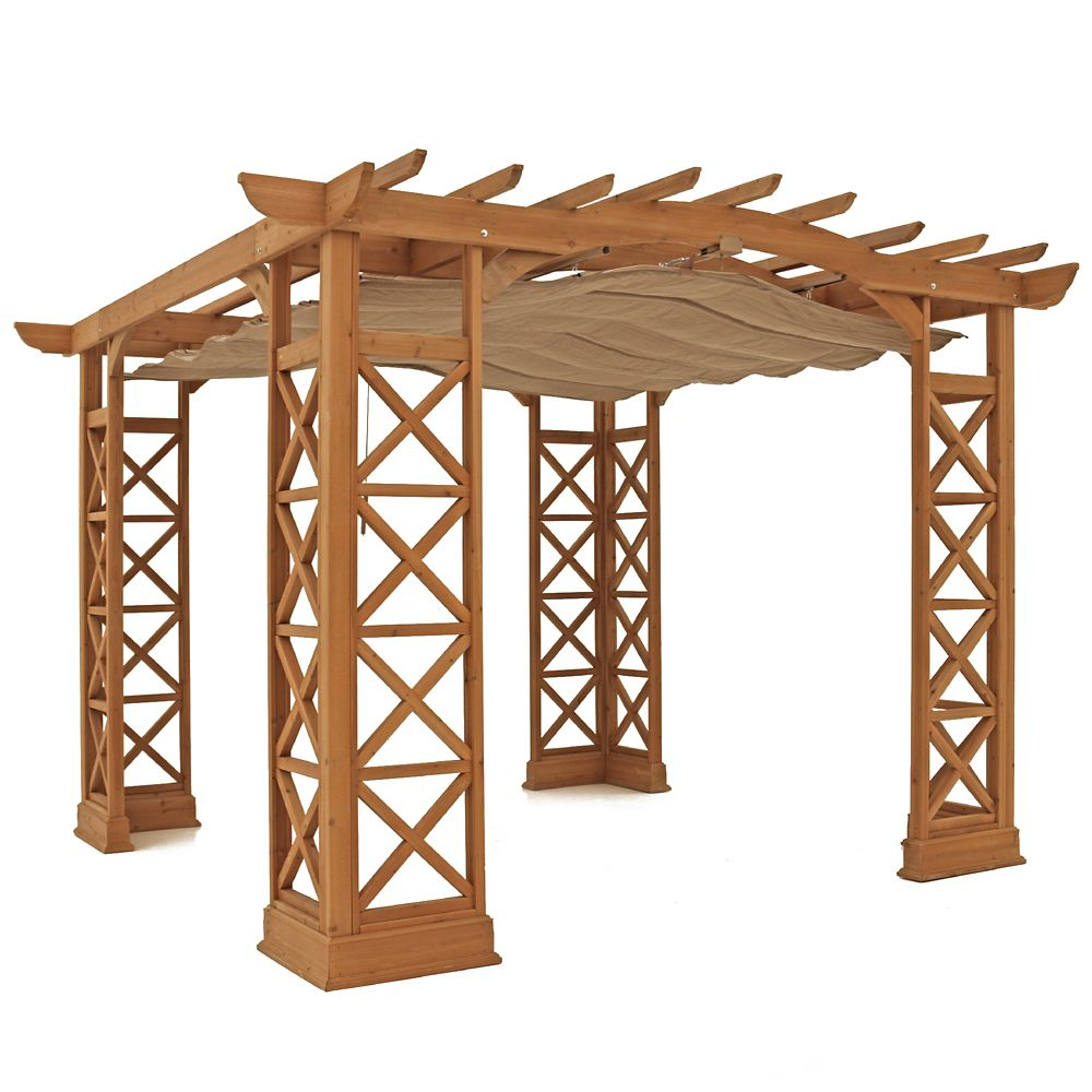 12 Feet X 12 Feet Arched Roof Pergola - Brown With Retractable Sun Shade