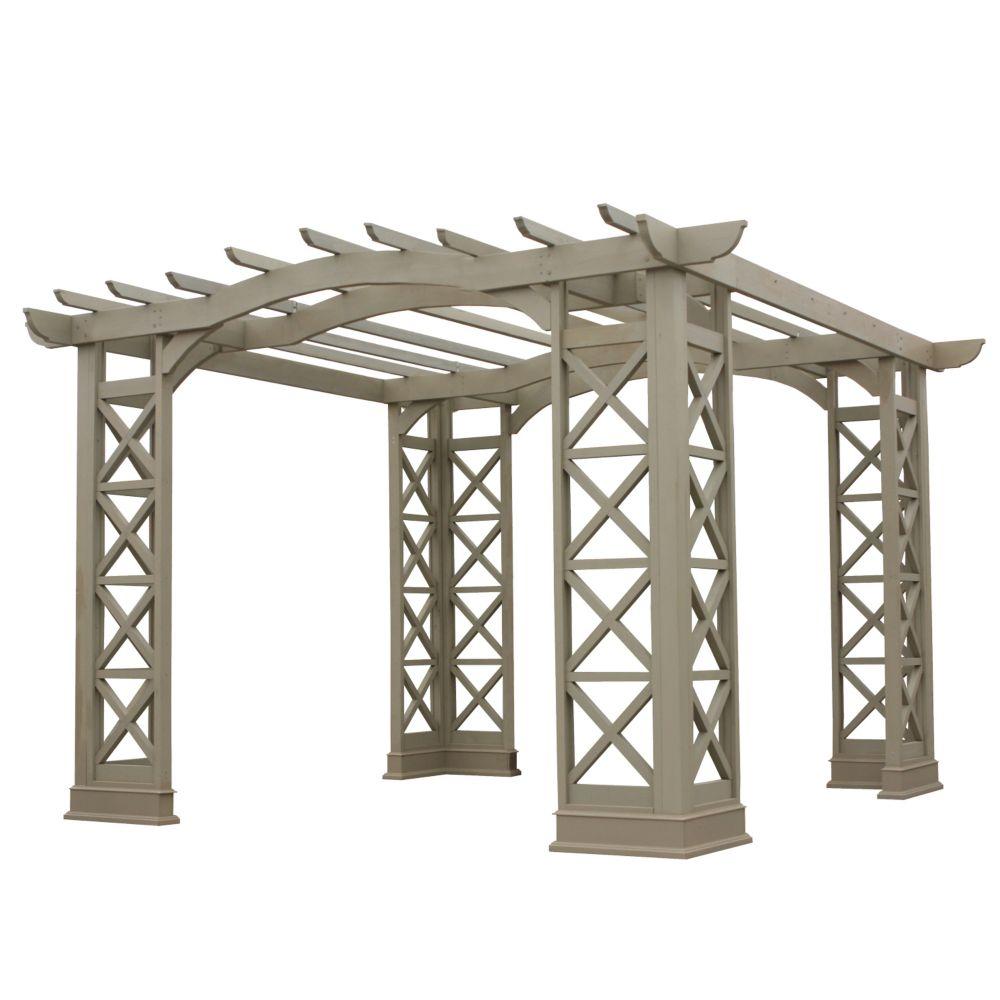 12 Feet X 12 Feet Arched Roof Pergola - Grey