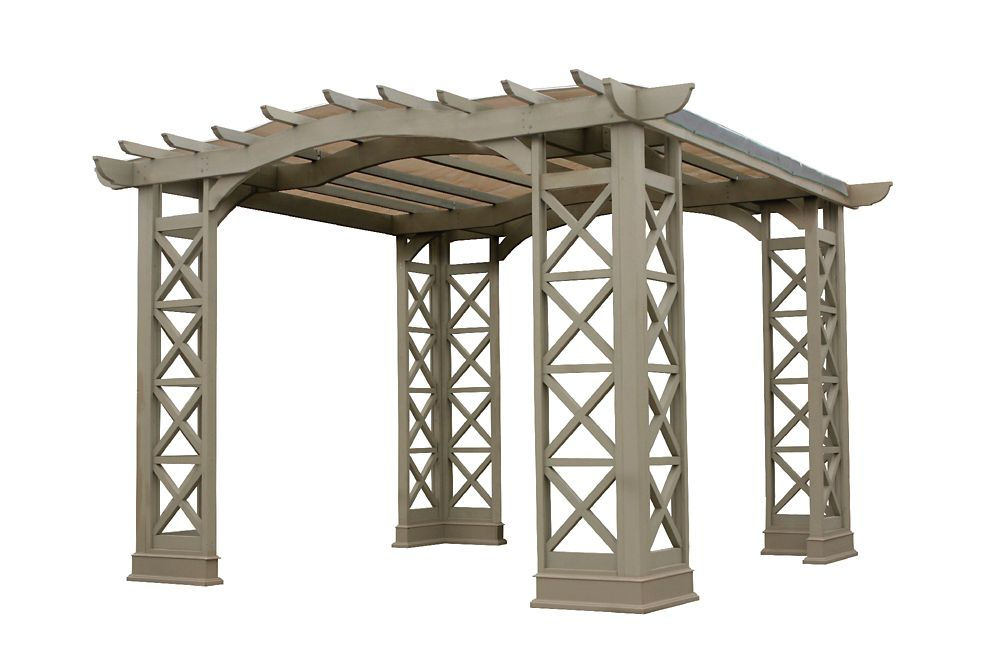 12 Feet X 12 Feet Arched Roof Pergola - Grey With Snap-On Sun Shade