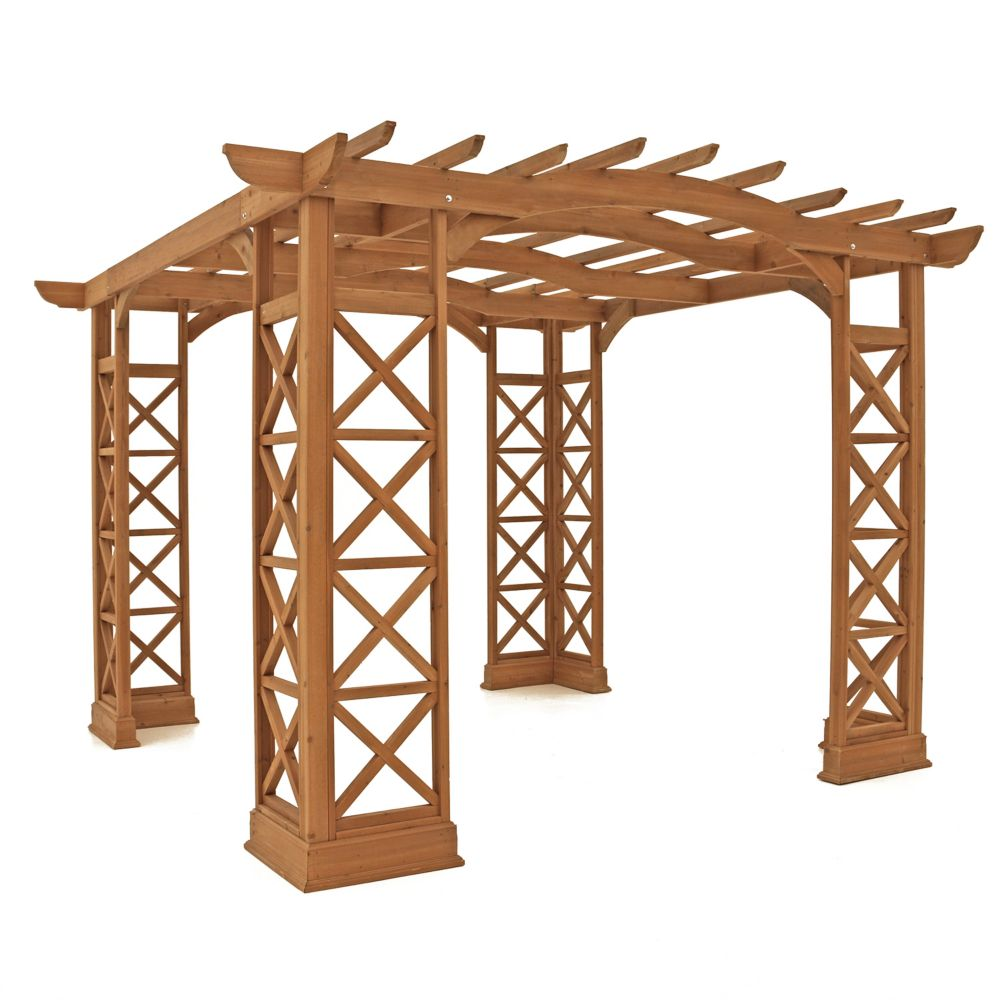 12 Feet X 14 Feet Arched Roof Pergola - Brown
