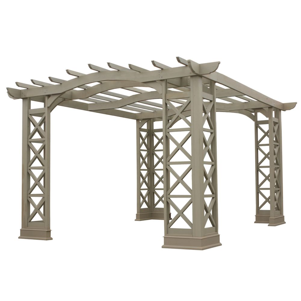 12 Feet X 14 Feet Arched Roof Pergola - Grey