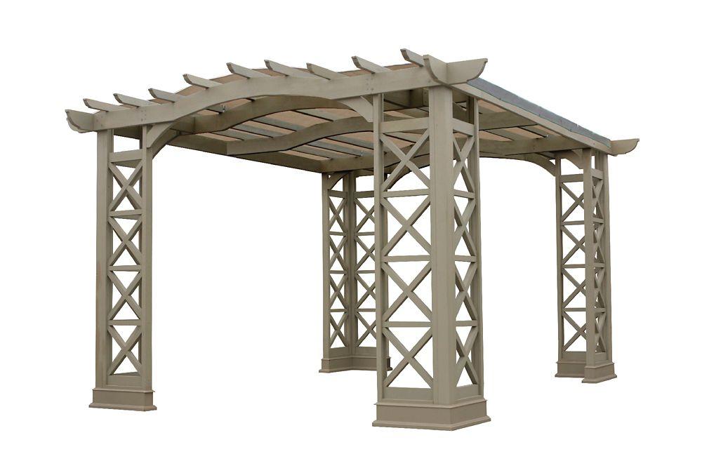 Pergola à toit voûté 12 pi x 14 pi de Yardistry avec auvent Sunshade à boutons pression - Gris