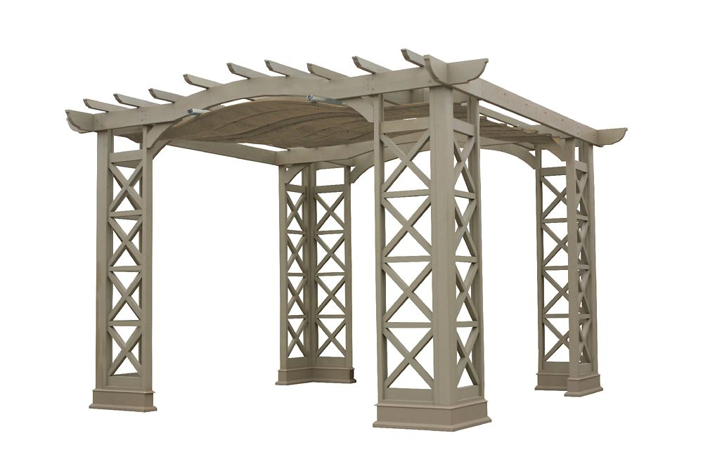 12 Feet X 14 Feet Arched Roof Pergola - Grey With Retractable Sun Shade