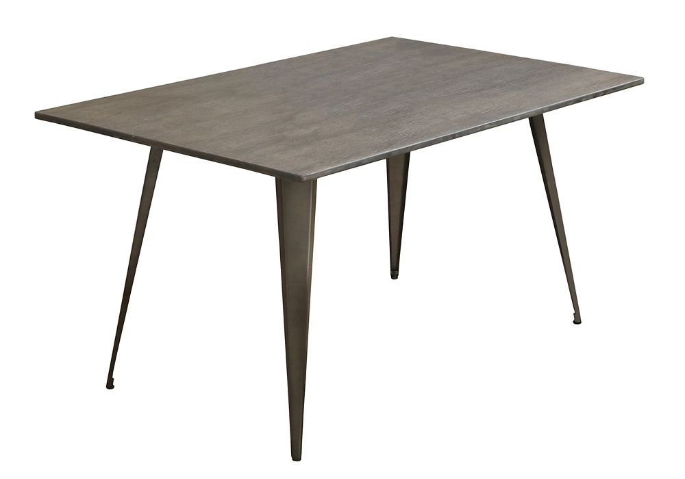 Dining Table - 36 Inch X 60 Inch  / Distressed Brown / Bronze Metal