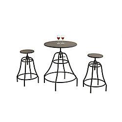 Monarch Specialties Dining Set - 3-Piece Set / Distressed Brown / Bronze Metal