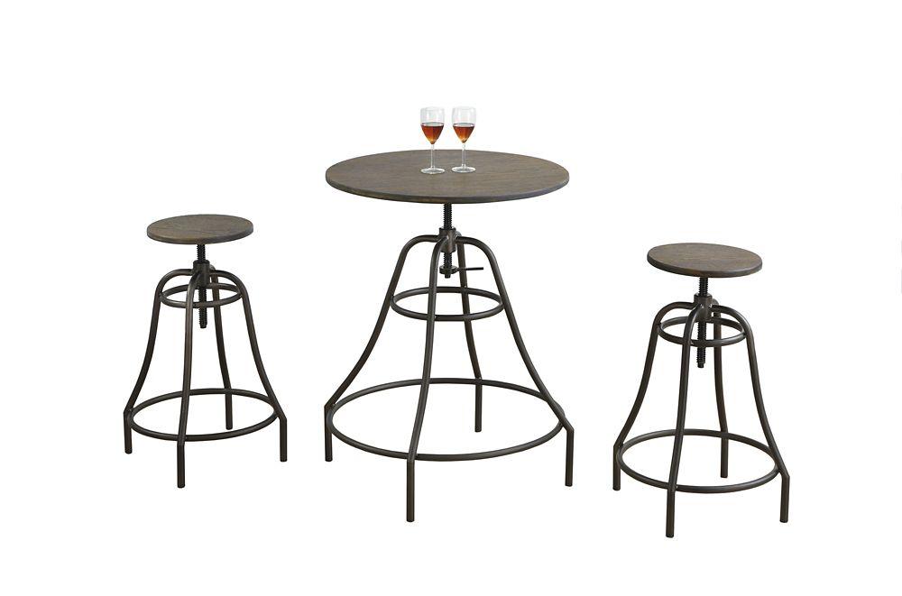Monarch Specialties Dining Set - 3PCS Set / Distressed Brown / Bronze Metal