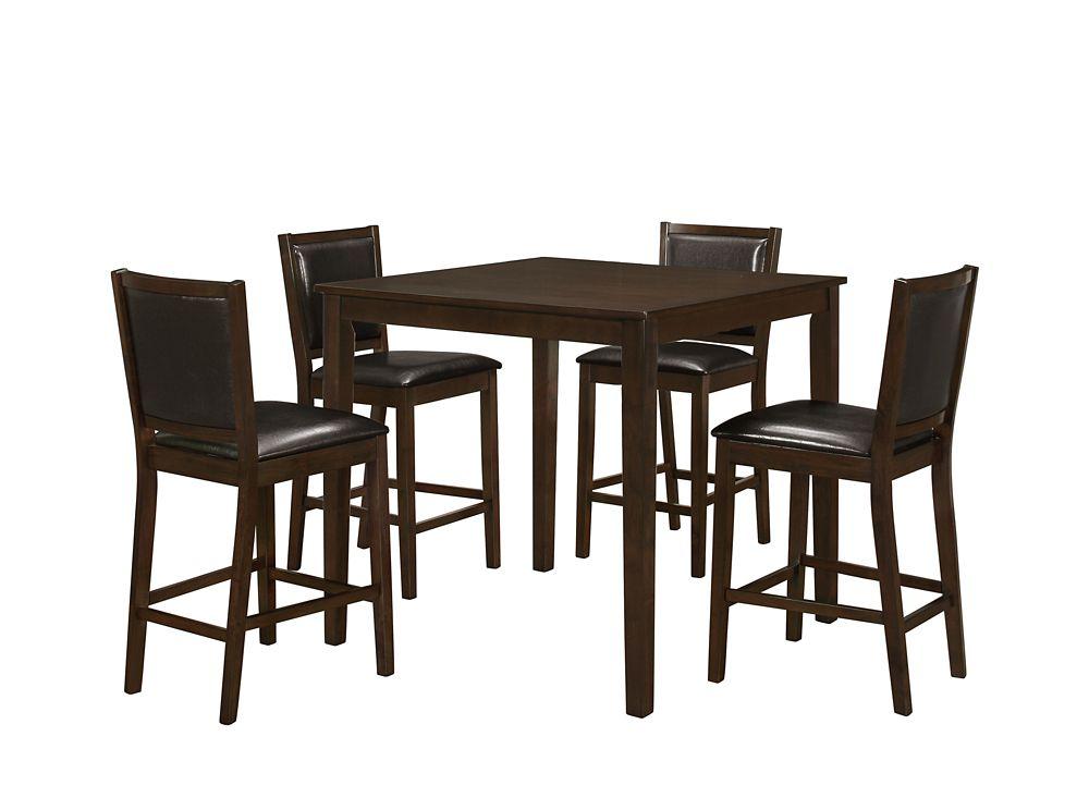 Dining Set - 5PCS Set / Walnut Veneer Counter Height