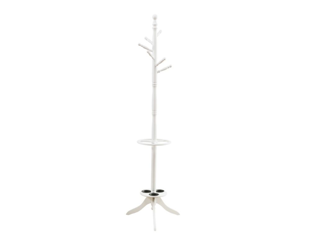 Coat Rack - 71 Inch H / Antique White With an Umbrella Holder