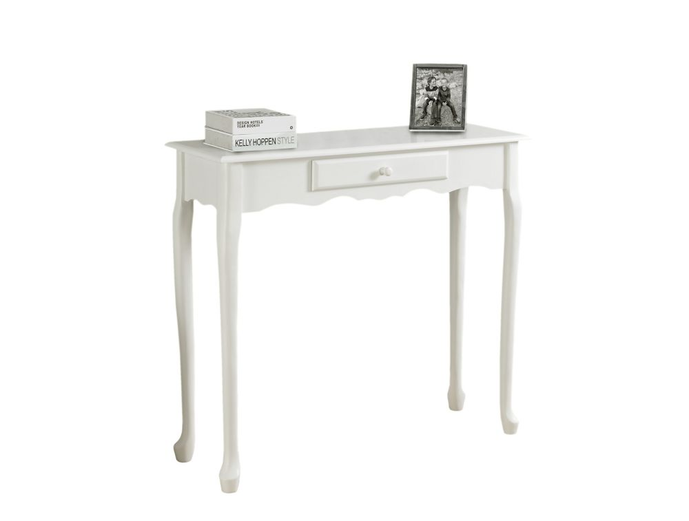Accent Table - 36 Inch L / Antique  White Hall  Console