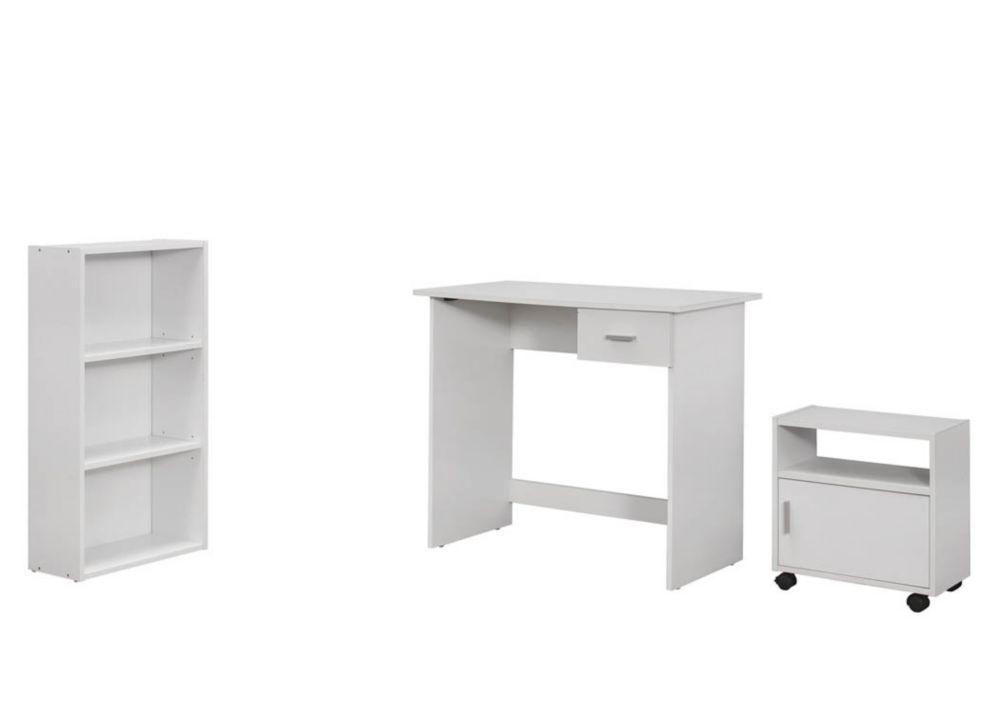 Monarch Specialties Computer Desk - 3Pcs Set / White Desk / Bookcase / Cart