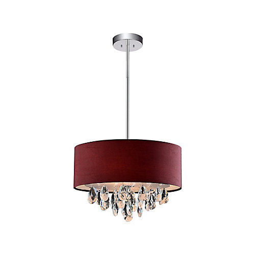 3 Light Mini Pendant With Wine Red Shade