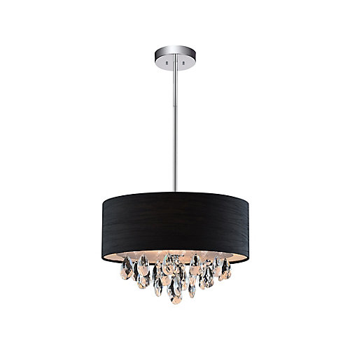 4 Light Chandelier With Black Shade