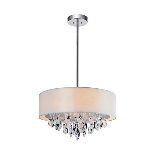4-Light Chrome Chandelier with Off White Shade