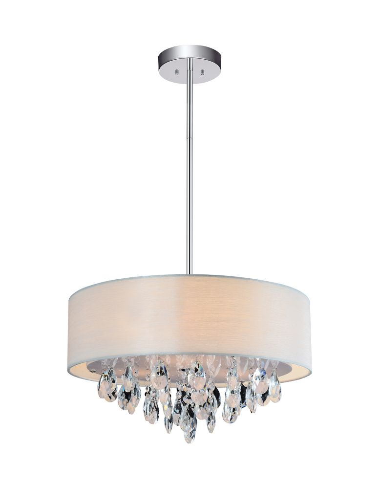 CWI Lighting 4-Light Chrome Chandelier with Off White Shade