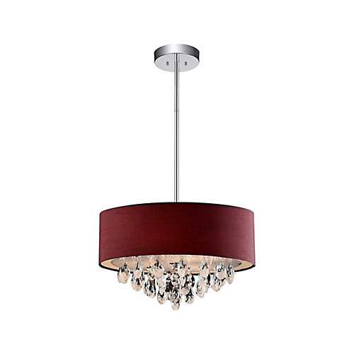 4 Light Chandelier With Wine Red Shade