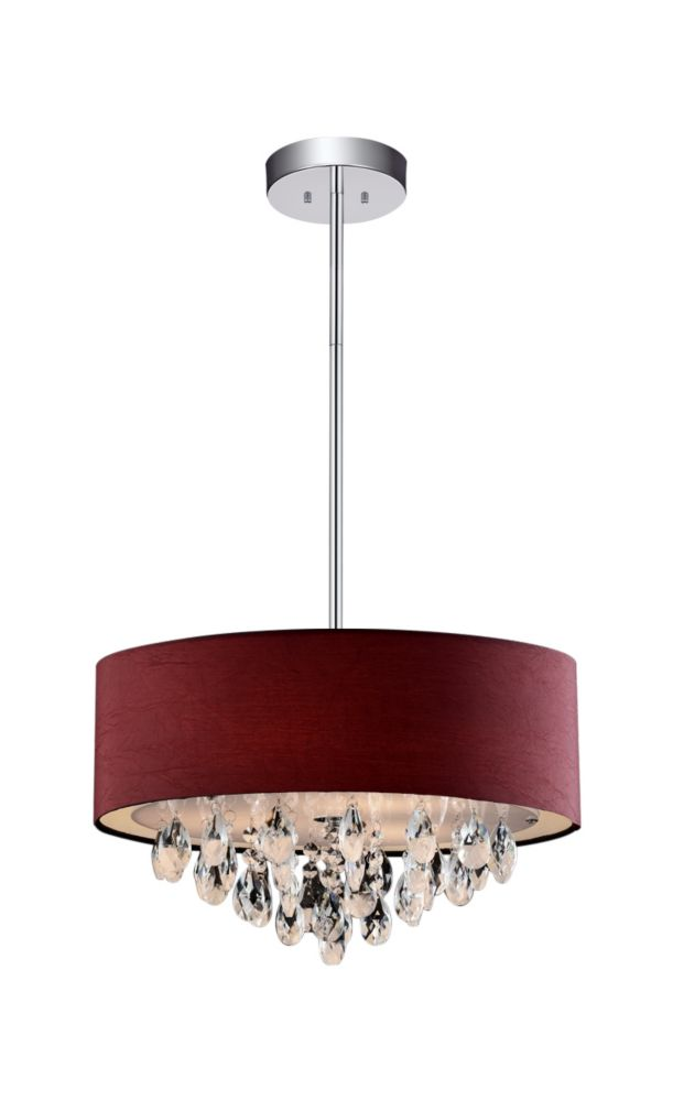 CWI Lighting 4 Light Chandelier With Wine Red Shade