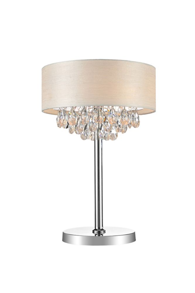 3 Light Table Lamp With Off White Shade